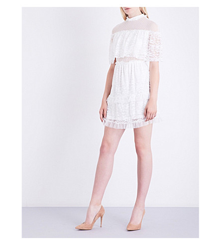 TOPSHOP Floral-embroidered lace dress (Ivory