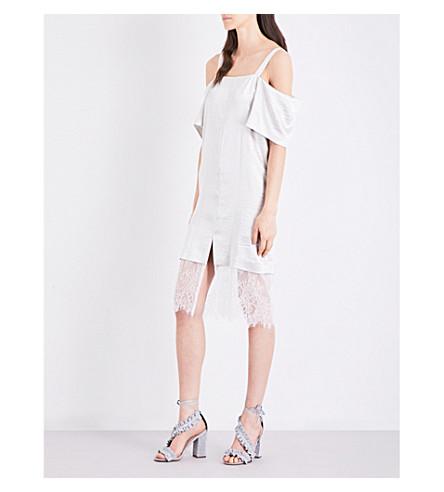TOPSHOP Cold-shoulder metallic dress (Ivory