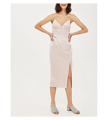 TOPSHOP Corset-detail jacquard midi dress (Blush