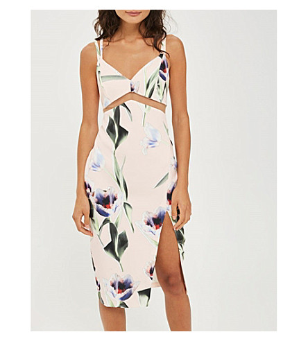 TOPSHOP Tulip-print mesh-insert midi dress (Blush