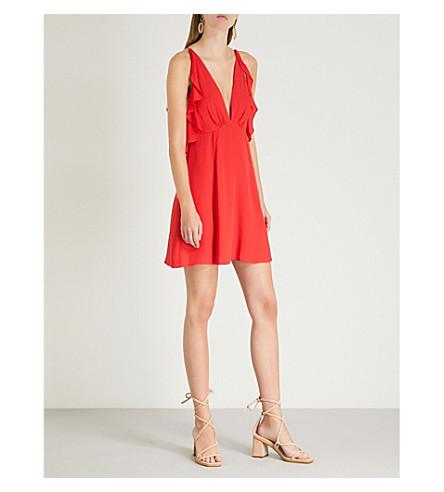 TOPSHOP Frilled cold-shoulder crepe dress (Red