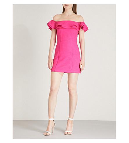 tejido vestido y TOPSHOP Rosa hombros Mini volantes con descubiertos zZqvv61w