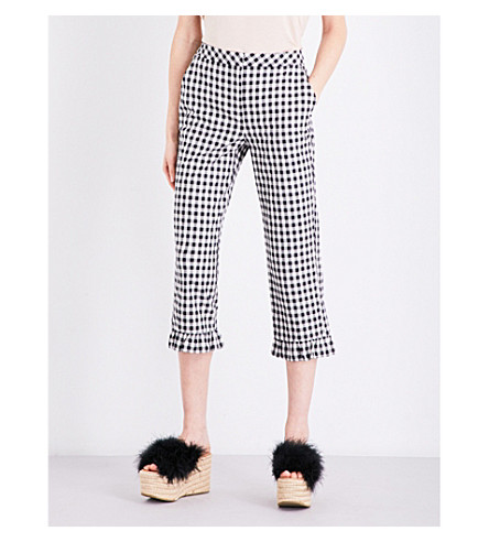 TOPSHOP Gingham mermaid-hem stretch-cotton trousers