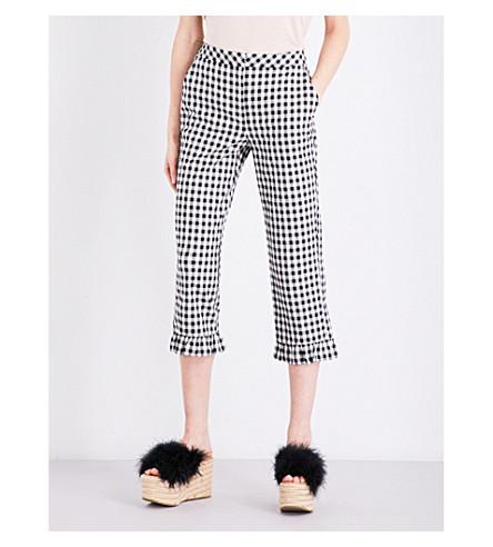 TOPSHOP Gingham mermaid-hem stretch-cotton pants