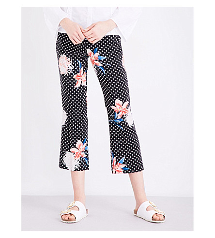 TOPSHOP Polka dot floral crepe trousers (Multi