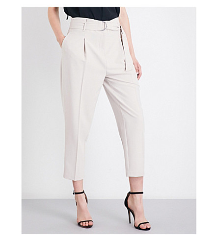 TOPSHOP Peg cropped crepe trousers