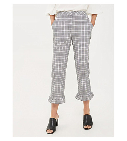 TOPSHOP Mermaid frilled-hem cropped cotton trousers