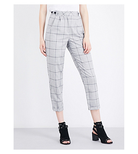 TOPSHOP Check Mensy high-rise straight crepe pants (Grey
