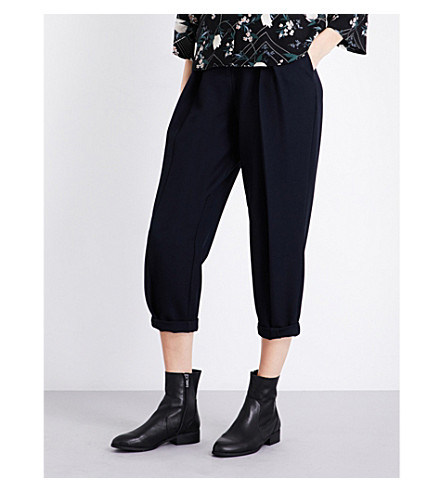 TOPSHOP Origami mensy stretch-piqué trousers (Navy+blue