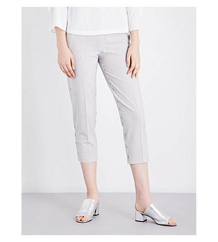 TOPSHOP Summer Stripe high-rise trousers (Ivory