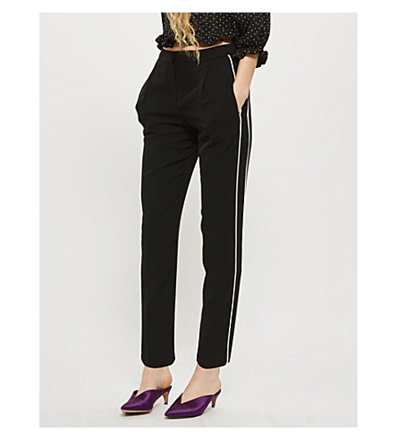 TOPSHOP Side-stripe slim-fit straight woven jogging trousers (Black
