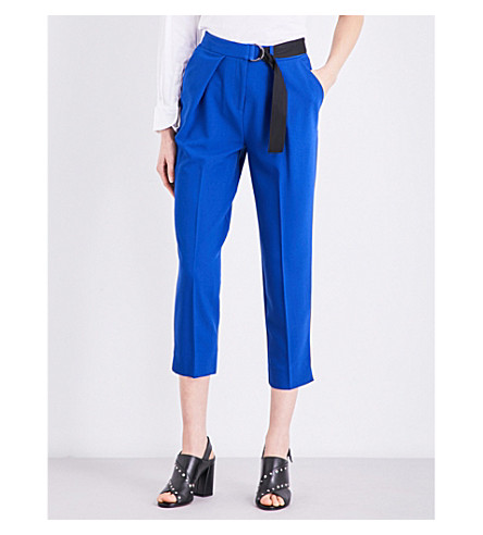 TOPSHOP Belted stretch-cotton peg pants (Cobalt