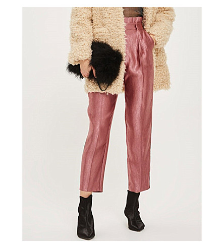 TOPSHOP Peg-leg high-rise metallic trousers (Rose