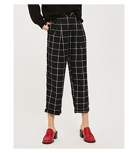 TOPSHOP Checked wide-leg high-rise woven trousers