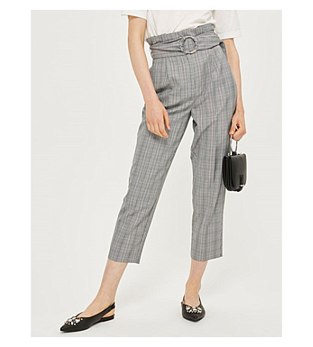 TOPSHOP Checked cropped high-rise woven trousers