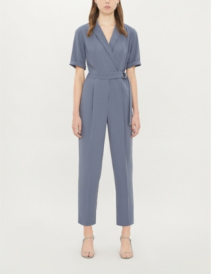 Wrap-over belted crepe jumpsuit