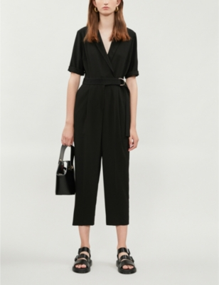 D-ring belt wide-leg crepe jumpsuit