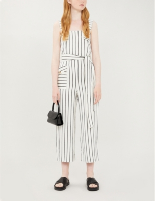 Striped waist-tie jumpsuit
