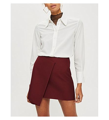 TOPSHOP Asymmetric woven skirt (Burgundy