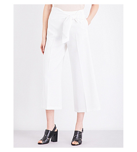 TOPSHOP Tie-waist crepe trousers (Ivory