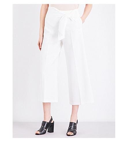 TOPSHOP Tie-waist crepe pants (Ivory