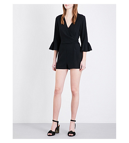 TOPSHOP Trumpet-sleeve crepe playsuit (Black