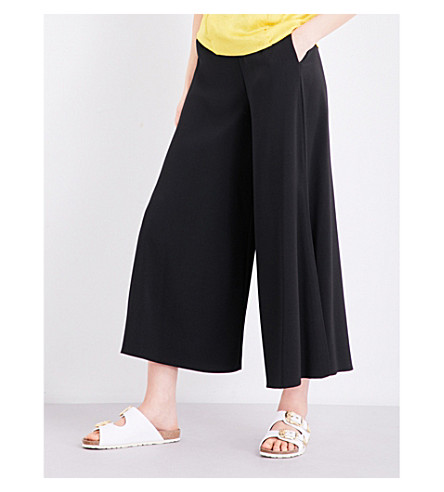 TOPSHOP Mia split-side crepe palazzo trousers (Black