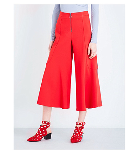 TOPSHOP Meg zip-detailed crepe palazzo trousers (Red