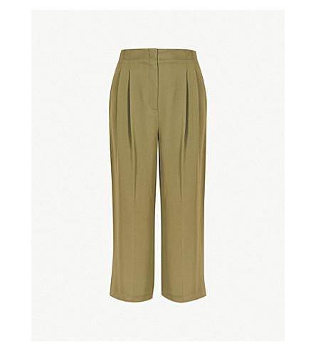 TOPSHOP Wide-leg cropped woven trousers (Khaki