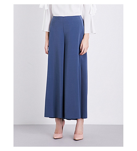 TOPSHOP Wide-leg cropped crepe trousers (Petrol