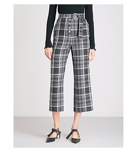 TOPSHOP Checked wide-leg high-rise twill trousers (Grey