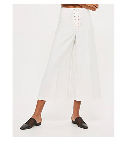 TOPSHOP Lace-up wide-leg cropped trousers (Ivory