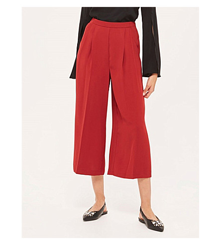 TOPSHOP Sasha wide-leg cropped crepe trousers (Claret