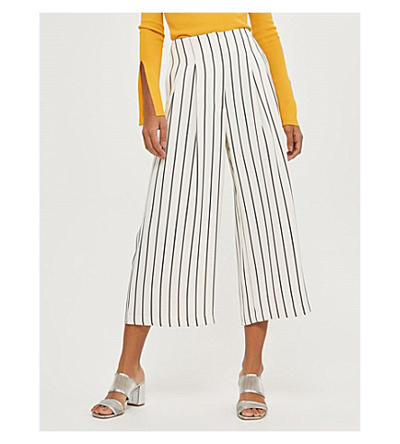TOPSHOP Striped wide-leg cropped crepe trousers