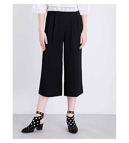 TOPSHOP Sasha wide-leg cropped crepe trousers (Black