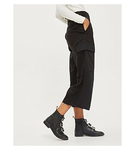 TOPSHOP Wide cropped high-rise woven trousers (Black