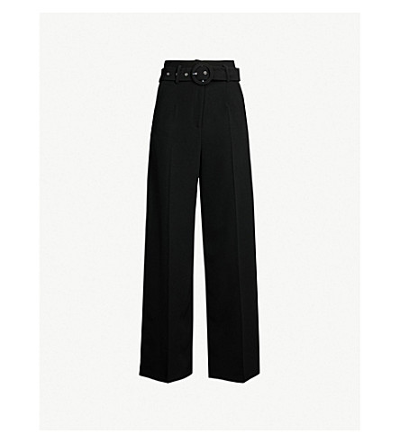 TOPSHOP Belted wide leg crepe trousers (Black