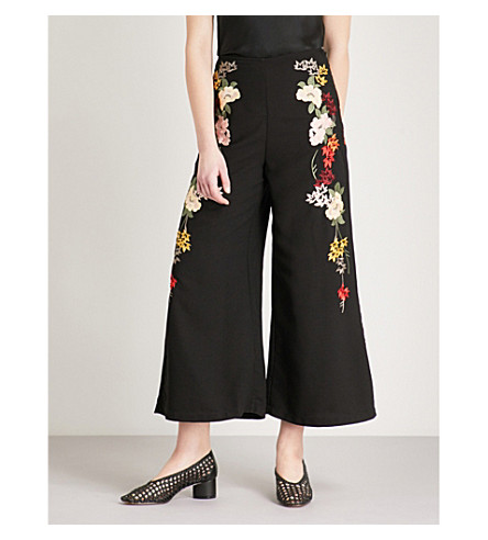 TOPSHOP Floral-embroidered crepe trousers (Black