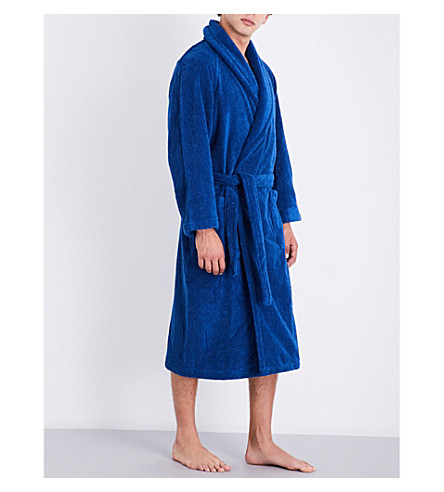 YVES DELORME Etoile cotton-blend bath robe (Saphir
