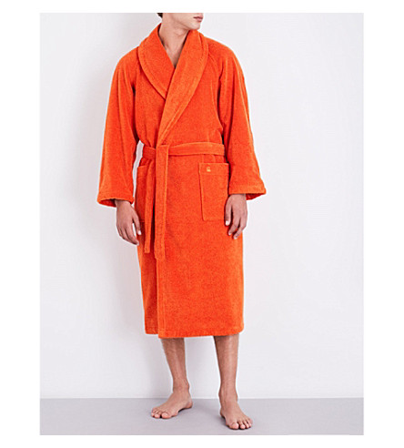 YVES DELORME Etoile self-tie cotton-blend robe (Orange