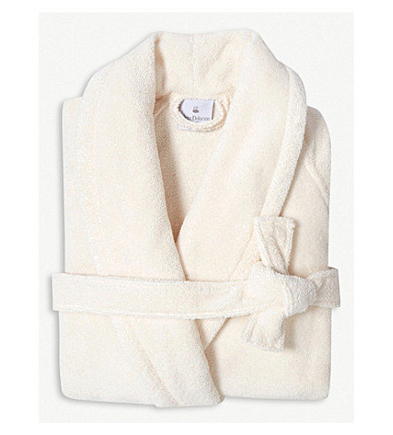 YVES DELORME Etoile self-tie cotton-blend robe (Nacre