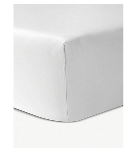 YVES DELORME Athena cotton king fitted sheet (Blanc