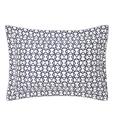 YVES DELORME Entrelacs cotton standard pillow case (Marine