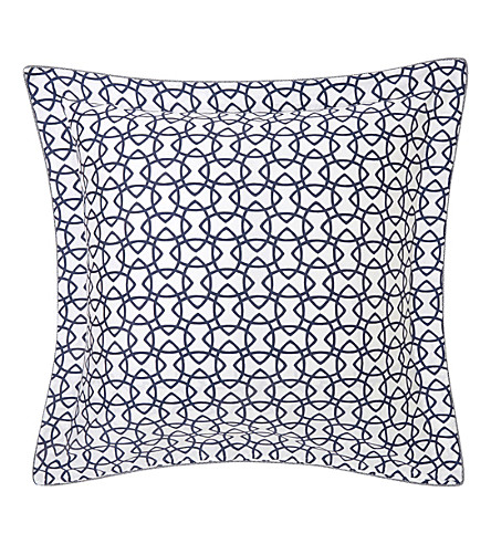 YVES DELORME Entrelacs cotton square pillow case (Marine