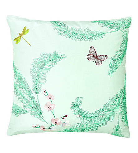 YVES DELORME Evasion menthe cotton silk-blend cushion cover (Menthe