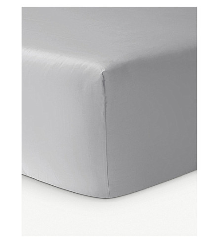 YVES DELORME Triomphe cotton fitted sheet (Silver