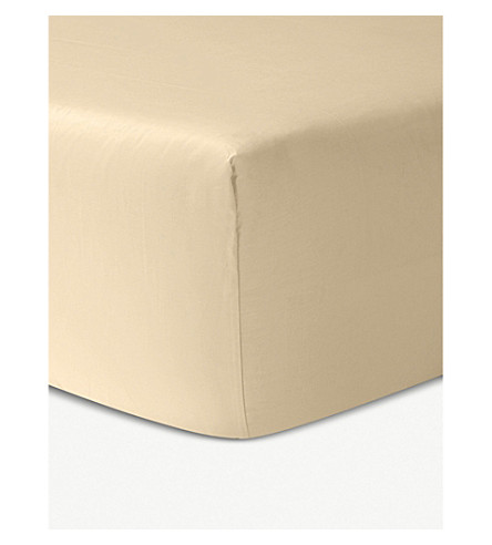 YVES DELORME Triomphe cotton fitted sheet (Honey