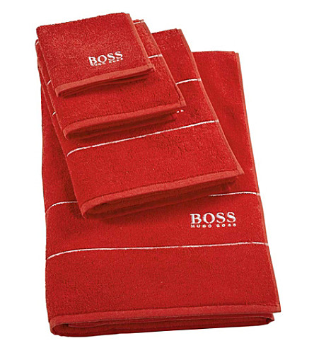 BOSS Plain egyptian cotton bath mat (Poppy