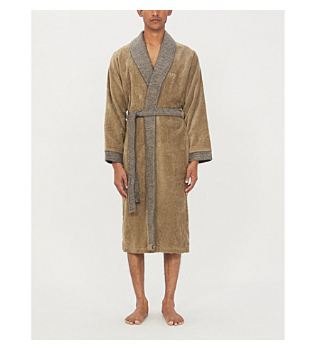 BOSS Lord Havane cotton-velvet dressing gown (Havane
