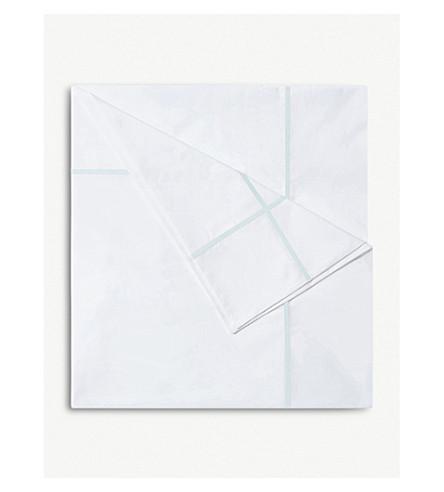 YVES DELORME Athena Aqua cotton single duvet cover 200x140cm (Aqua